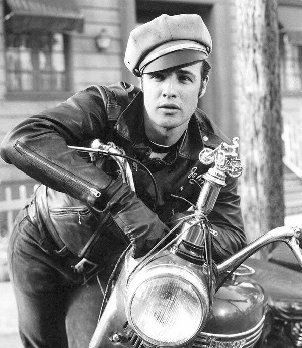 "Marlon Brando sporting his oft copied biker jacket and cap from ""The Wild One""."