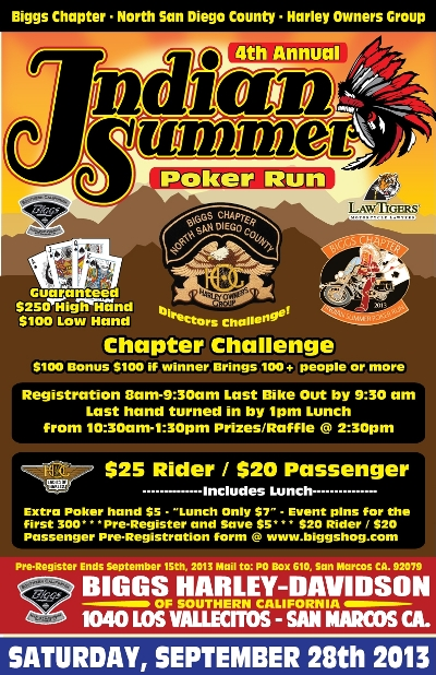 Indian Summer Poker Run in North San Diego County