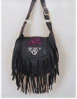 Leather Rose Purse with Fringe