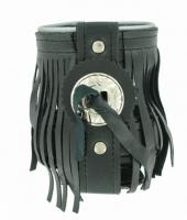 Leather Motorcycle Cup Holder with Fringe