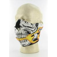 Skull Half Face Mask with Flames
