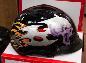 Half Helmet with Skull Flame Design